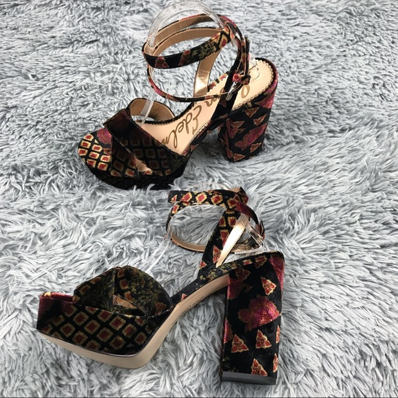40298fd46853 Sam Edelman Mara Velvet Platform Sandals Sz 10. M 5aeeacf7a44dbe99b399f1d2